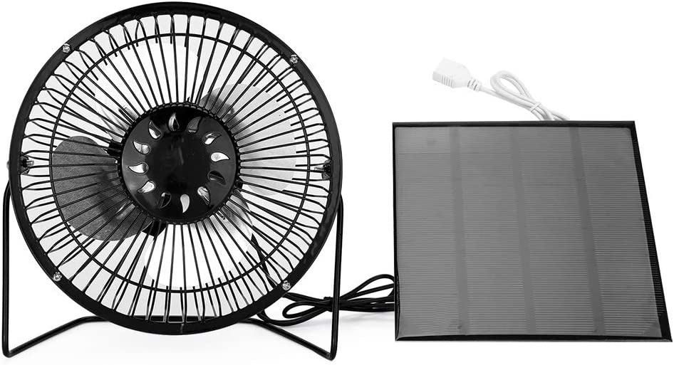 Fishing Hiking Aiggend USB Outdoor Solar Battery Metal Mini Fan Mini Portable Fan Adjustable Cooling Fan for Outdoor Travel
