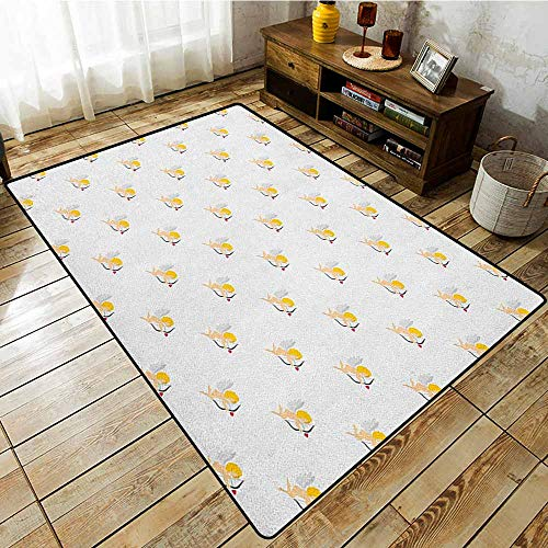 - Skid-Resistant Rug,Angel,Cupid Pattern Amour Love Arrow Mythic Romance Kids Baby Angels Children,Ideal Gift for Children,5'6