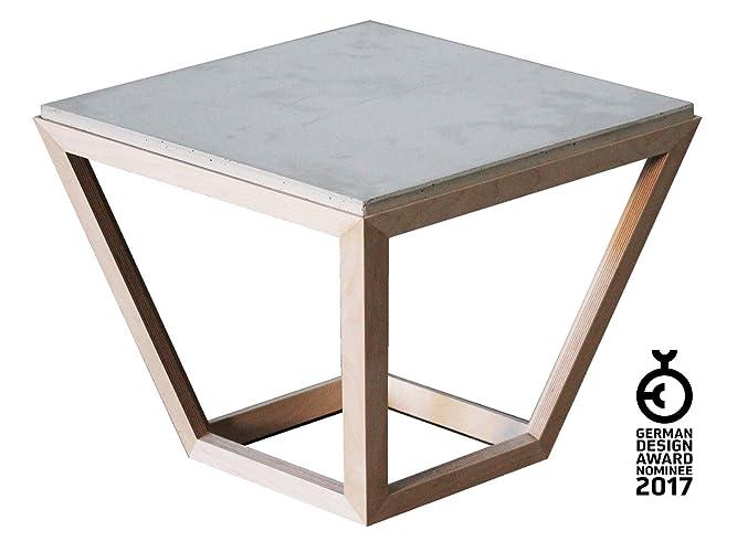 Couchtisch [cretable] aus holz und beton beistell tisch mit