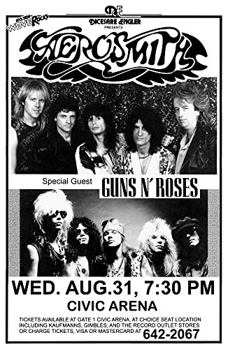 Aerosmith Permanent Vacation Tour 1988 with Guns N' Roses Retro Art Print — Poster Size — Print of Retro Concert Poster — Features Steven Tyler, Joe Perry, Tom Hamilton, Joey Kramer, and Brad Whitford. - 1988 Poster