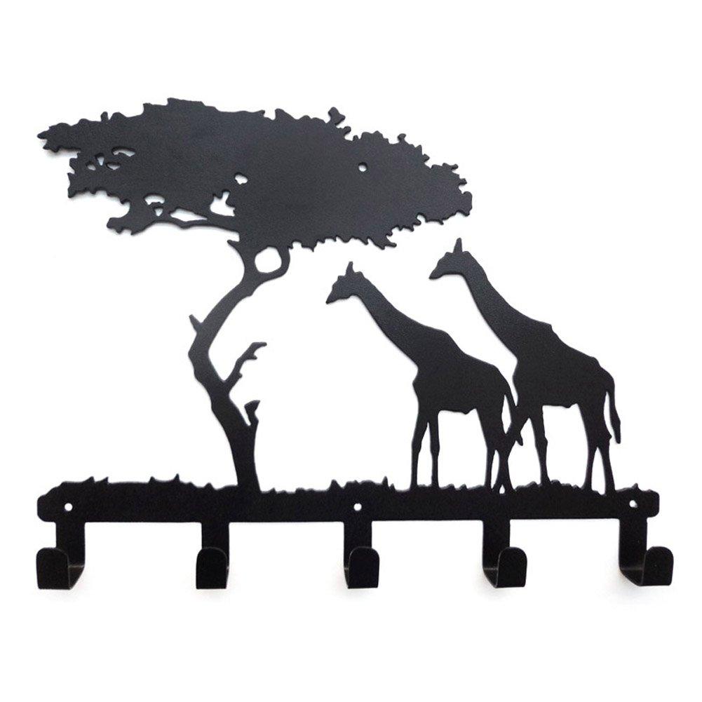 YOURNELO Ironwork The African Jungle Animals Art Wall Mounted Decorative Coat Rack Hooks (Giraffe Black)