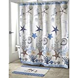 OTSK 1pc Motif Themed Shower Curtain, Seahorses, Coral, Starfish, Natural Stones, Shells, Gorgeous Alphabetic Background, Fun Seaside Escapades Pattern