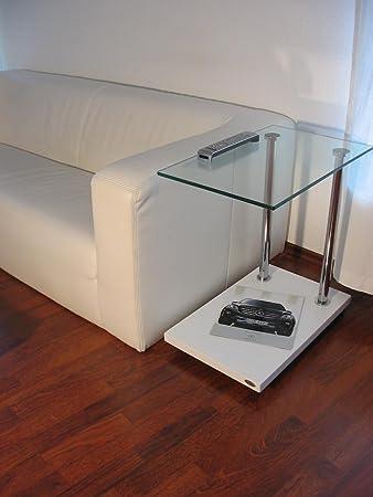 Carl Svensson Design Beistelltisch Ecktisch V 270 Weiß Klarglas