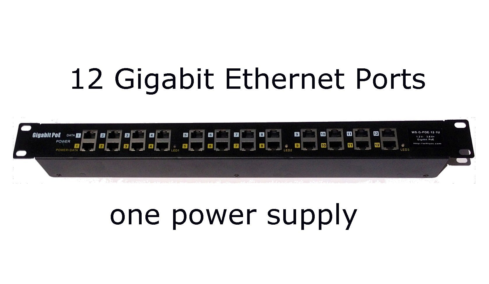 WS-GPOE-12-1U - 12 Port Gigabit Passive Midspan Poe injector - Mode A and B - Power Supply NOT Included