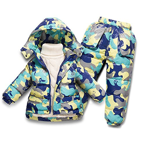 MIQI Boys' Winter Hoodie Jacket With Pant Blue Camo 5T by MIQI