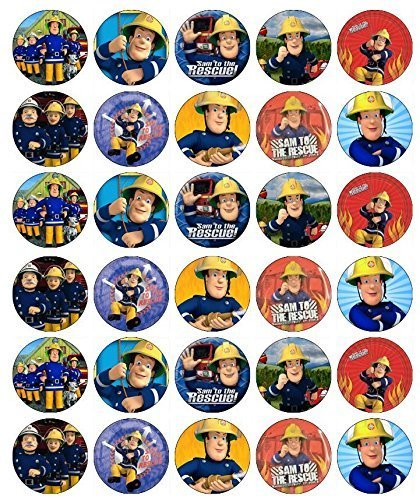 30 x Edible Cupcake Toppers - Fireman Sam Party Collection of Edible Cake Decorations | Uncut Edible Prints on Wafer Sheet