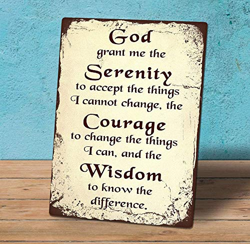 Price comparison product image Joycenie New Metal Aluminum Sign Decorative Freestanding Hanging Sign Plaque Serenity Prayer Quote Novelty for Indoor Outdoor Wall Decoration Tin Sign 8x12 Inch