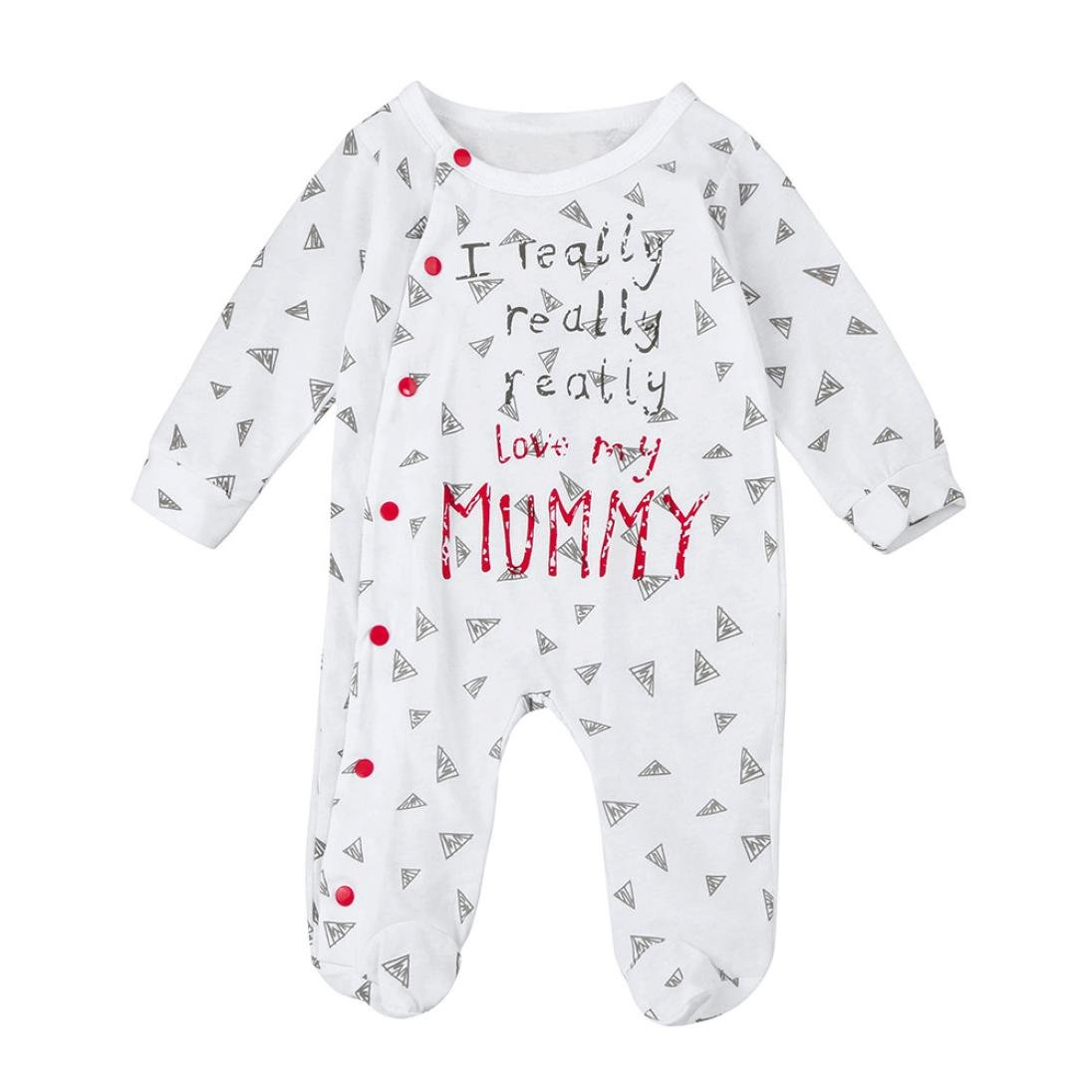VENMO Cute Infant Bodysuit I Really Love My Mummy/Daddy Baby Boys Girls Long Sleeve Romper Jumpsuit Outfits Clothes for 3-24 Months Newborn