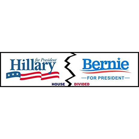 House divided hillary bernie logo funny decal sticker political bumper sticker