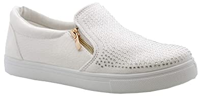 fcefa5fa1777 Image Unavailable. Image not available for. Colour  Definitely You Ladies  Womens Flat Diamante Slip on Zip Trainers Plimsolls Sneakers Pumps Shoes  Size (