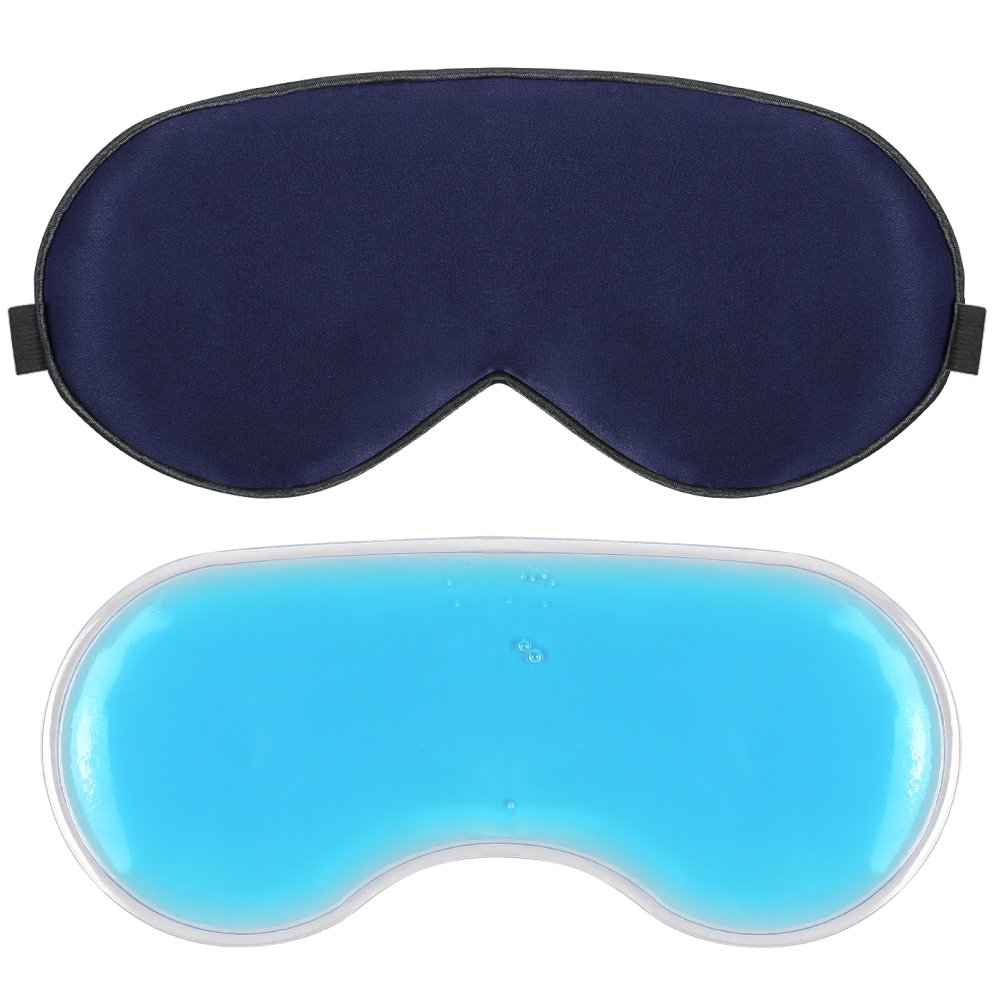 Plemo Sleep Mask, 100% Pure Silk Eye Cover with Reusable Ice Pack for Hot & Cold Therapy, Comfortable & Super Soft Eye Mask With Adjustable Strap, Gem Blue