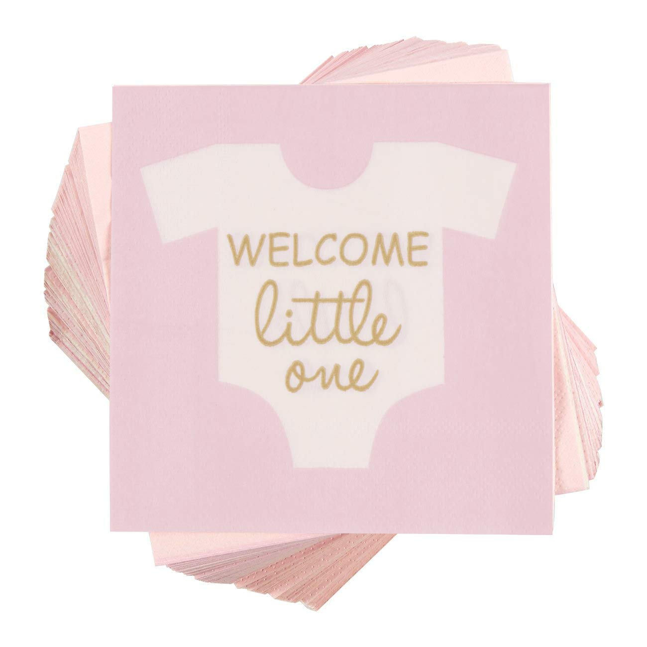 Baby Shower Cocktail Napkins - 100 Pack Welcome Little One Disposable Paper Party Napkins, Perfect for Girl Baby Shower Decorations and Gender Reveal Party Supplies, 5 x 5 inches Folded, Pink