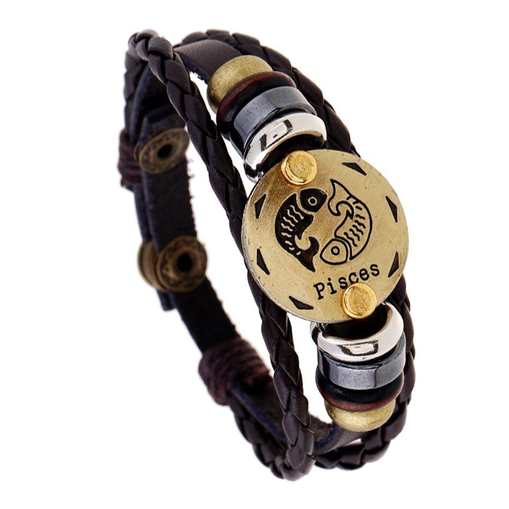 GerTong 1PCS Retro Twelve Constellation Zodiac Sign Bracelet Braided Lmitation Leather Alloy Charm Bracelet Multilayer Wristband Bangle Gifts for Men Women (Pisces)