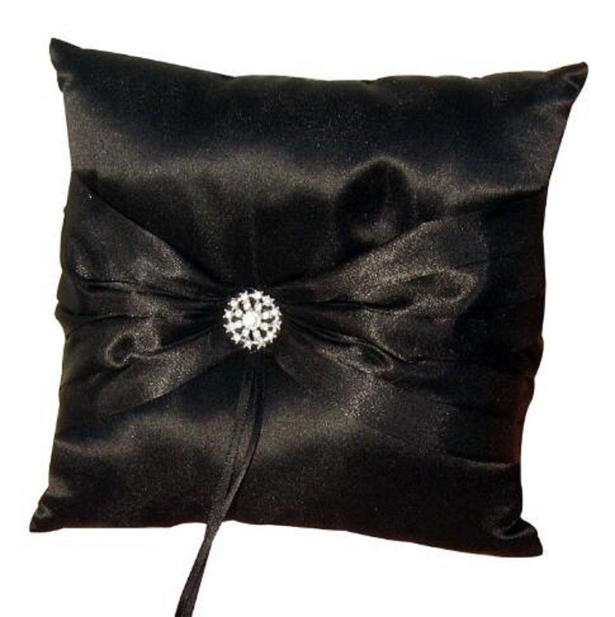 Wedding Ring Pillow Wedding Ring Cushion Ring Bearer Pillow,Black,7.8 7.8 inch