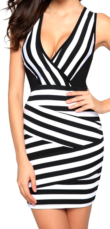 ASL Womens New Vogue Striped V-neck Sleeveless Slim Formal Dress