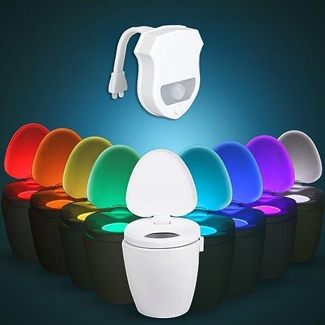 tbteek avanzada 16 Color Sensor de movimiento LED inodoro luz UV bactericida luz Noche Luz para