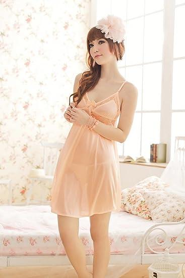 Amazon.com: Lencería Sexy Pijama Para Mujer Naranja vestido ...