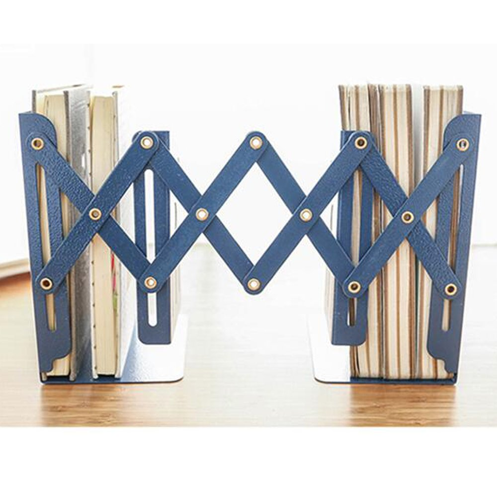 ANTIMAX Steel Adjustable Bookends Extension Books Holder Stand Desk Heavy Duty for Office Home Children Max Width 18.5″(Blue) by ANTIMAX (Image #3)