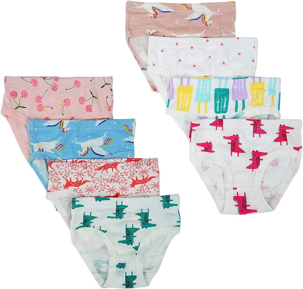Confezione da 8 Kidear Mutande Corte da Bambine Piccole in Cotone Morbido Serie per Bambini
