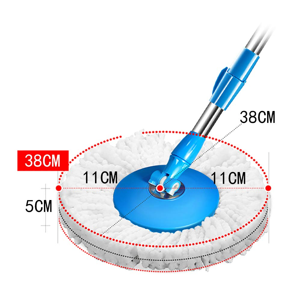 Wet Mops Rotating mop, 360° rotating mop head, hand-free washing, washing and drying, (microfiber) by QSJY mop (Image #4)