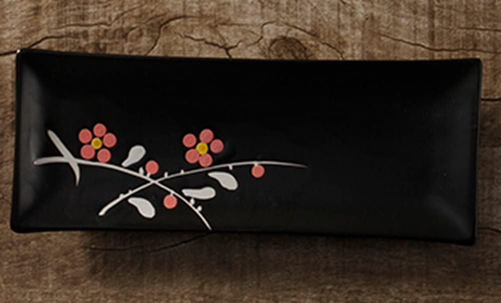 Gentle Meow Beautiful Sushi Plate Dessert Plates Pottery Dishware Red Plum Blossom Black