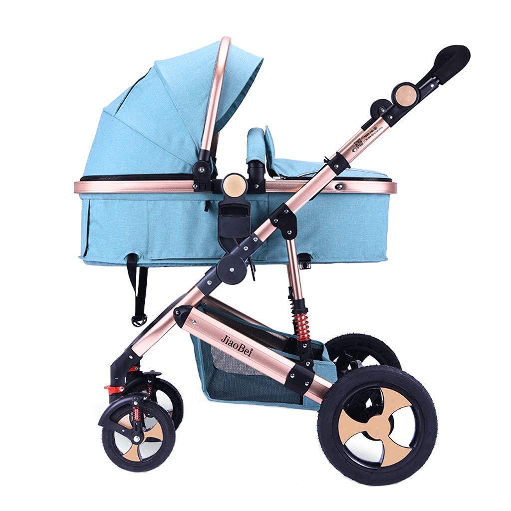 YRYRGXQ High Landscape Stroller Pushchair Can Sit and Lie Folded Shockproof 4 Wheel Independent Sleeping Basket Baby Buggy, Five-Point Safety Belt
