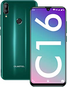 OUKITEL C16 Unlocked Smartphone, 8M + 5MP Dual Cameras Dual SIM 5.7'' HD+ Screen Global Android Cell Phone, 2GB RAM + 16GB ROM 128GB Expandable Face & Fingerprint Unlock AI Cellphone (Green)