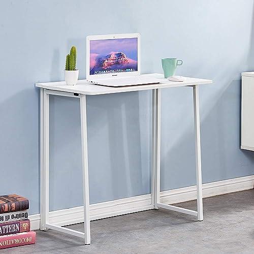 Folding Desk,4HOMART Small Foldable White Computer Desk