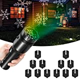 Decorative Lights Projector, SENDOW 12 Slides Holiday LED Lights for Halloween/Christmas/Birthday Party Lights, Handheld Rechargeable Flashlight with Tripod