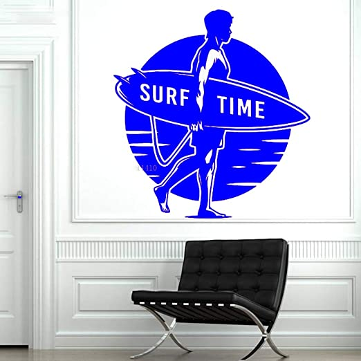 yaoxingfu Surf Time Wall Sticker Hombre con Tabla de Surf ...