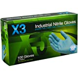 Ammex X344100 Xtreme X3 Powder Free Nitrile Industrial Gloves, 240mm Length, Beaded Cuff, Medium, Pack of 100 (Blue)