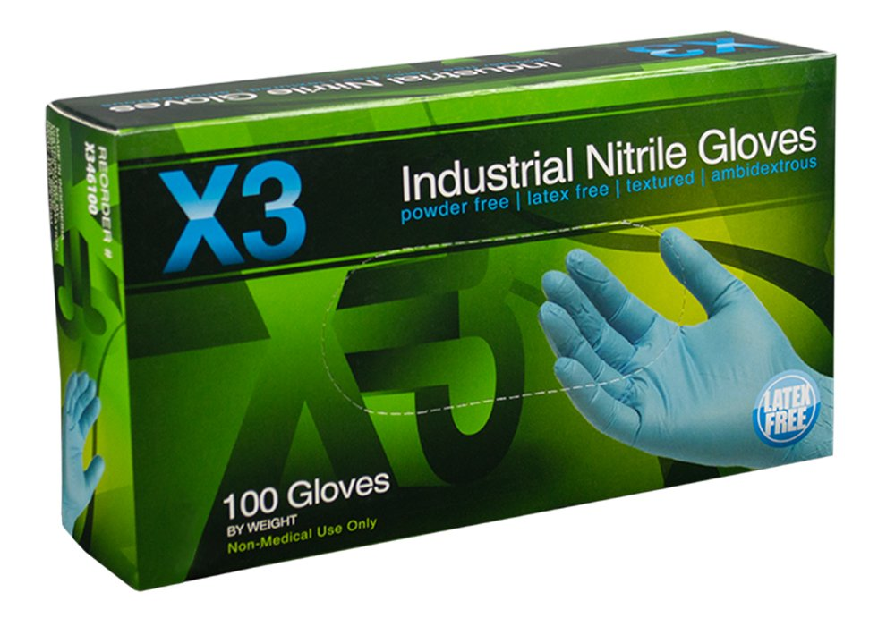 AMMEX - X342100-BX - Nitrile Gloves - X3 - Disposable, Powder Free, Latex Rubber Free, Industrial, 3 mil, Small, Blue (Box of 100)