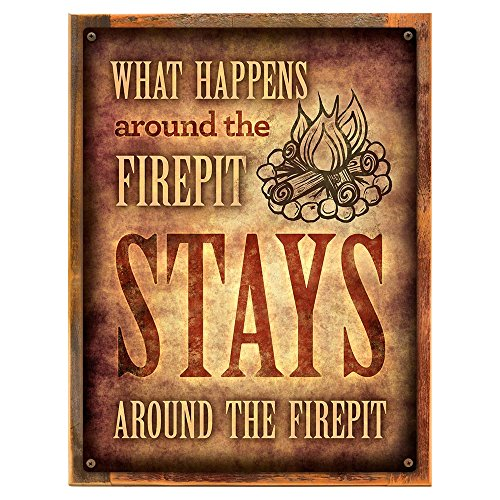 Framed, Outdoor What Happens Around the Firepit 12''x16'' Metal Sign, Patio, Porch, Deck, Hand-Crafted from reclaimed materials by Homebody Accents ®