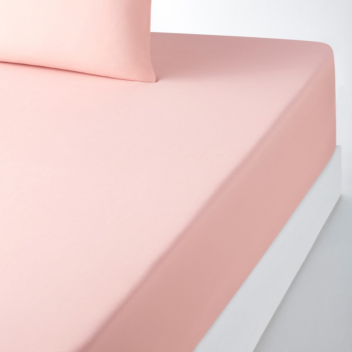 La Redoute Cotton Fitted Sheet For Deep Mattresses Pink Size Double (140 X 190Cm)
