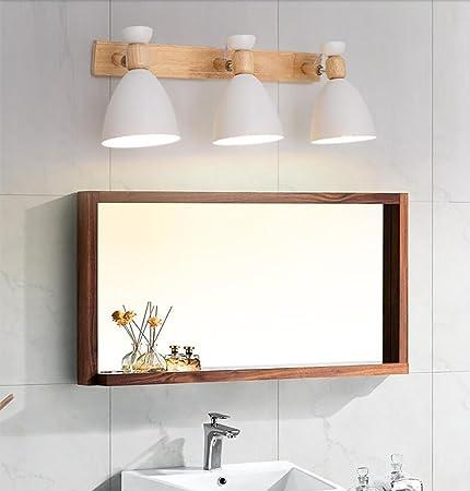 Mirror Light Scandinavian Style Solid Wood Wall Lamp Simple Front Triple Bedroom Bedside