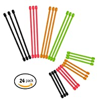 Reusable Gear Ties 24 Pcs (Diameter-4mm , 3 Inch and 6 Inch) Assorted Colors Black,Green,Orange,Red …