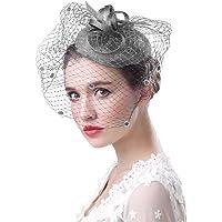 Sombrero de boda elegante para mujer, estilo vintage, estilo bohemio, con visillo, flor, diadema de pelo, accesorios…