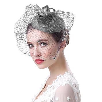 0b10a0afda7 Feather Net Hat Women Wedding Hair Clip Veil Ladies Flower Fascinator Bride  Lace Headwear Corsage Hair