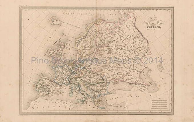 Amazon.com: Europe Antique Map Malte Brun 1850 Original ...
