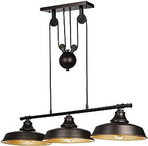Hykolity 3-Light Pulley Pendant Lighting, Adjustable Kitchen Island Lights, (LED Edison Bulbs as Bonus), Farmhouse Vintage Ceiling Light Fixtures, Oil Rubbed Bronze/Bronze, ETL Listed
