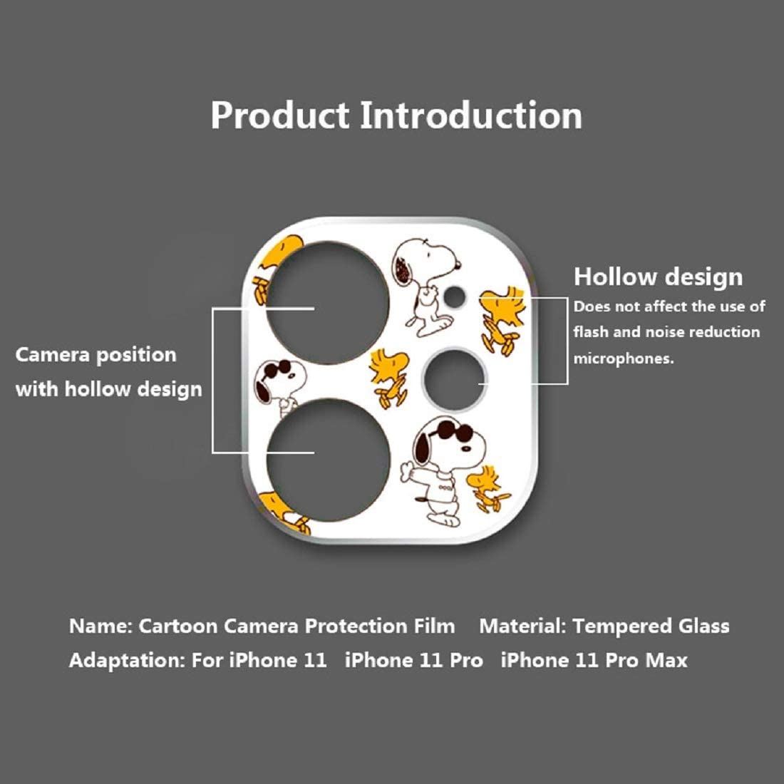 Camera Len Film for iPhone 11 Pro Camera Protector Cartoon Cute Tempered Glass Lens Protection Camera Case Sticker Screen Cover Accessories Mirror Film. for iPhone 11, 10