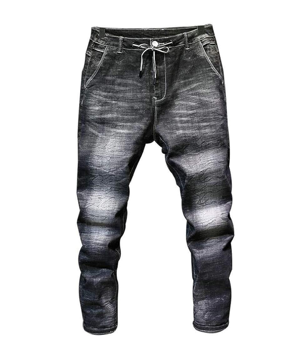 Cromoncent Men Jean Drawstring Camo Denim Trousers Slim Pants