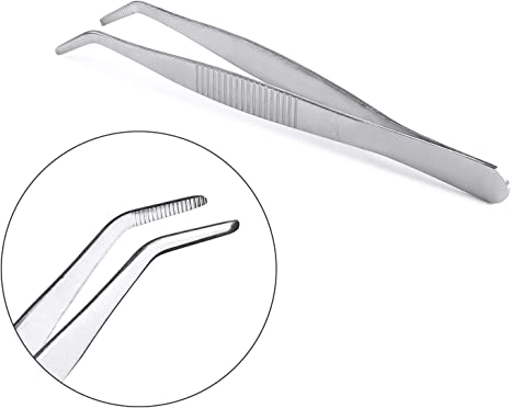 whobabe pinzas de acero inoxidable con /ángulo de 90//° para modelismo y Manualidades
