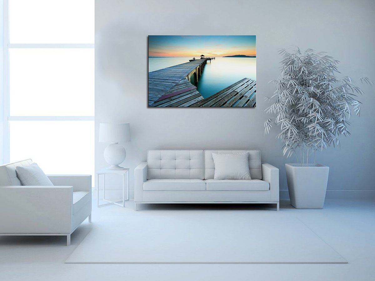 HandpaintedSeaside Pier Oil Painting on Canvas Modern Wall Art Picture for Home Decoration Wall Decor 24X36 Inch (Seaside Pier 4)