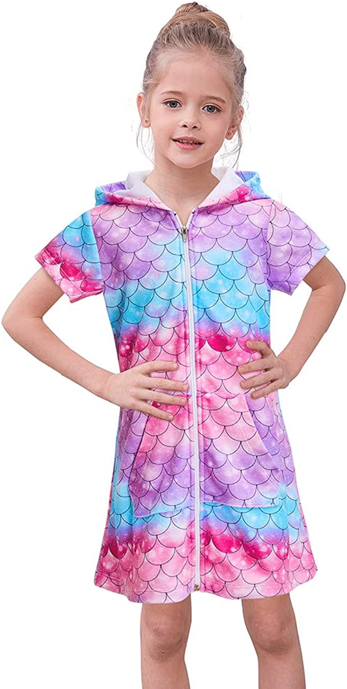 Wonder Nation Girls Hooded Zip Front Terry Swimsuit Cover Up
