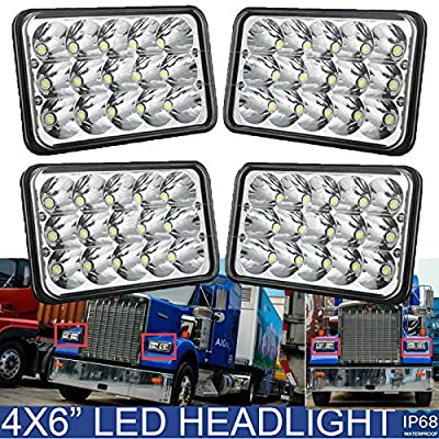 "4""x6"" LED Headlight Fit For Kenworth Peterbilt 378 357 379 Sealed Beam High Low Rectangular Headlamp H4651 H4652 H4656 H4666 H6545 Pack-4 - 2 Year Warranty"