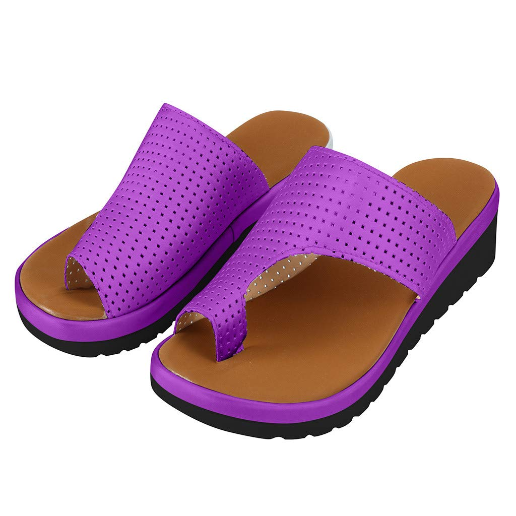 Platform Sandals for Women,2019 New Casual Fashion Clip Toe Comfort Flip Flops Roman Beach Slippers (US:8.5, Purple) by Yihaojia Women Shoes (Image #7)