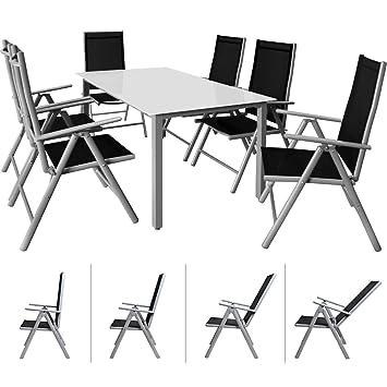 Casaria Salon de Jardin Aluminium Argent »Bern« 1 Table 6 ...