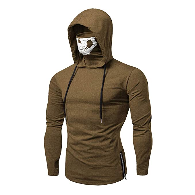 Hombre Sudaderas con Capucha Máscara De Cráneo Manga Larga Camisetas Estampado De Calaveras Sweatshirt: Amazon.es: Ropa y accesorios