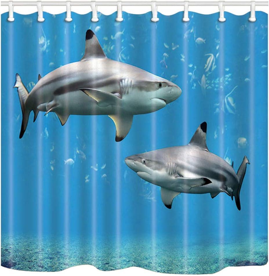 Shocur Shark Shower Curtain, Blue Fantasy Cartoon Ocean World, Polyester Fabric Bathroom Decor Set with 12 Hooks, 72 x 72 Inches Kids Theme Bath Curtain